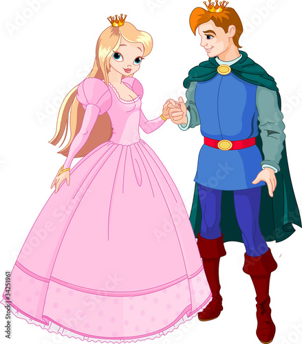 Tuinposter Ridders Beautiful prince and princess