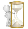 Time is Money. 3D little human character with a Golden Hourglass