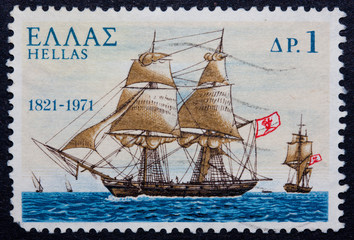 A Greek stamp showing a ship with sail