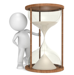 Time. 3D little human character with a Hourglass