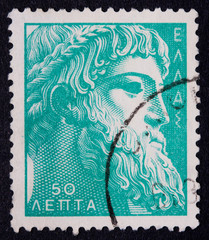 A Greek stamp showing the bearded face