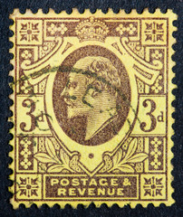 British stamp showing portrait of King Edward VII 1901 to 1910