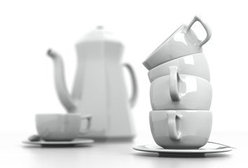Stacked Mugs and Coffee Set