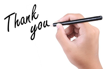 hand writing a thank you