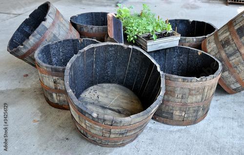 Charred oak  barrels at garden center