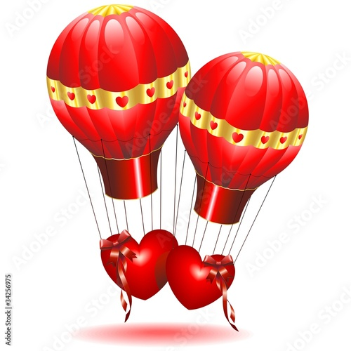 Cuori Amore in Mongolfiera-Love Hearts on Fire Balloon-Vector