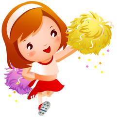Girl cheerleader in uniforms holding pom-pom