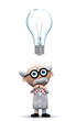 3d Mad Scientist notices a large lightbulb following him