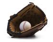 Closeup of baseball glove holding baseball on white