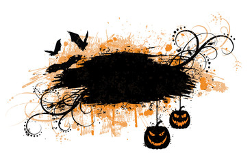Grunge halloween banner with bats and pumpkins.