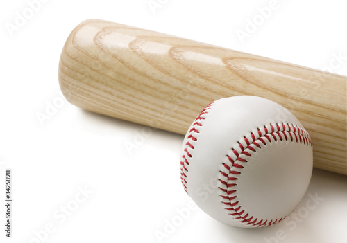 Baseball bat and baseball isolated on white