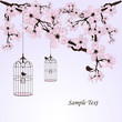 vintage floral background with a birds and cages