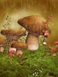 Baśniowa łąka z jesiennymi grzybami i motylami