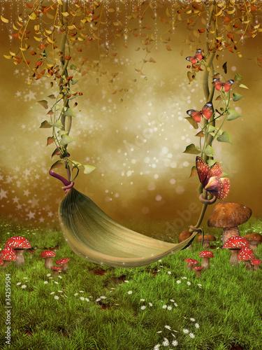 Baśniowa huśtawka z liści