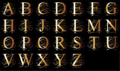 initial, gold, A-Z