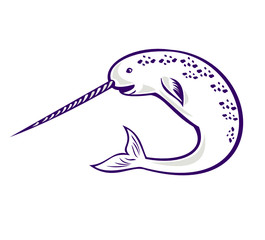 Narwhal Monodon monoceros unicorn whale jumping