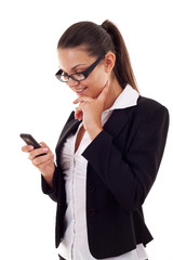 business woman sending a text message