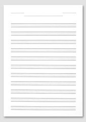 Music score paper on white background.