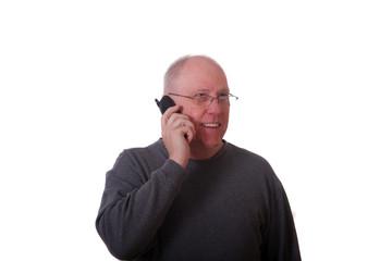 Older Balding Man on Phone Smiling