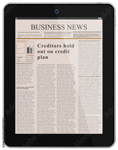 Digital News. Business Newspaper on Tablet PC.