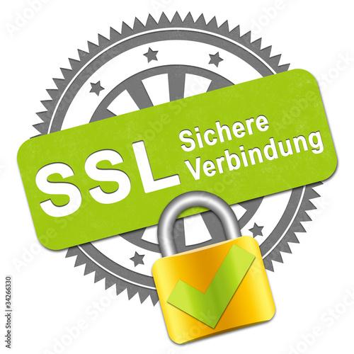canvas print picture SSL Verbindung Stempel+Schloss