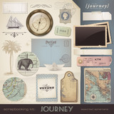 digital scrapbooking kit: Journey - assorted ephemera poster
