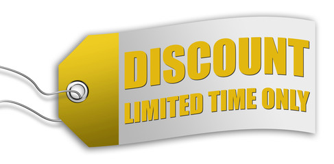 """Price Tag / Label """"Discount - Limited Time Only"""""""