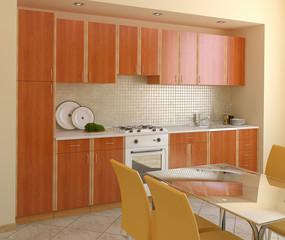 Wooden modern kitchen.