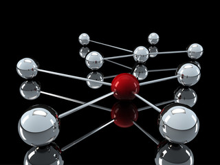 3d chrome red network