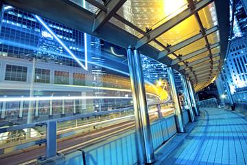 traffic night and footbridge in hongkong