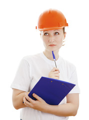 Thoughtful female engineer, isolated on a white background