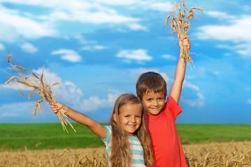 Kids in wheat field