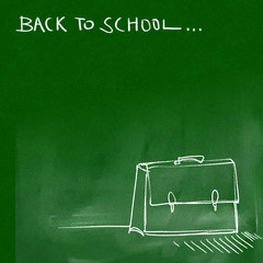 back to school - green chalkboard background (white chalk doodle
