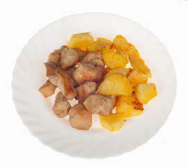Piatto con pollo e patate