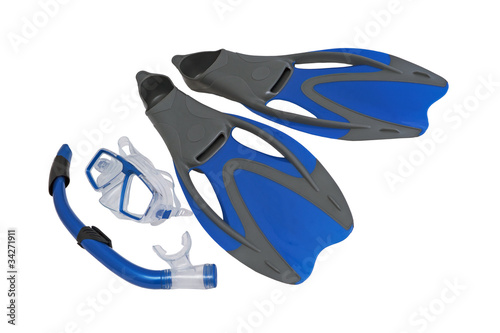 Flippers and snorkel to the mask.