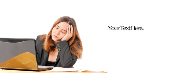 Business Woman Falling Asleep on Computer