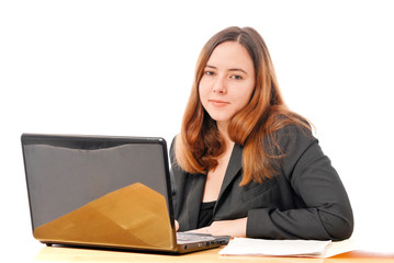 Business Woman Smiling at Camera on Computer
