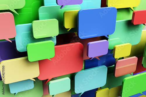 Colorful speech bubbles - concept for social networking