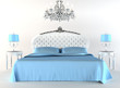 Modern bed tith night lamps and chandelier. Flat