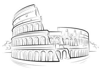 Vector drawing black and white Colosseum, Rome, Italy