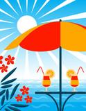 beach bar scene poster