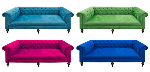 multicolor set of sofa isolated
