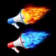 Megaphones in flame