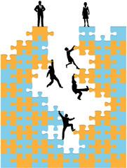 Business people climb corporate success puzzle