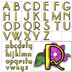 ABC Alphabet background violet parisian gold design