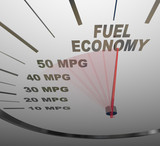 Fuel Economy Speedometer Measures MPG Efficiency in Car or Vehic