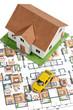 Model house,car and blueprint