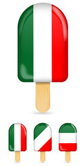 classic italy flag ice cream bar or ice pop isolated on white