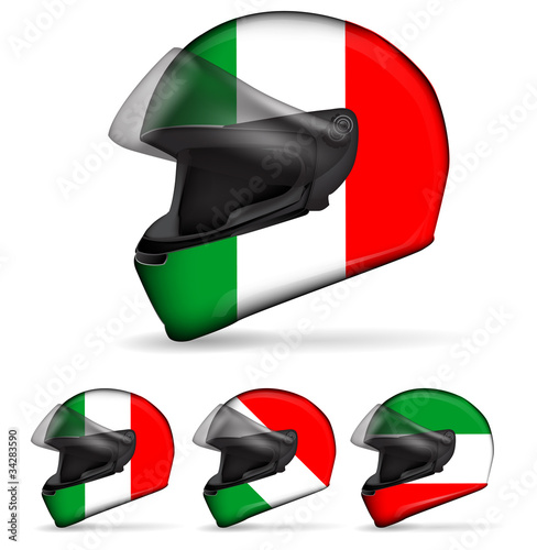 set of italy motorcycle helmet isolated on white background