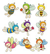 cartoon bee boy icon set.